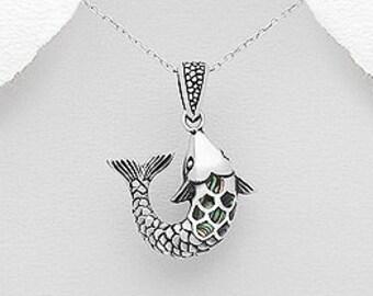 Salmon of Knowledge Necklace, Celtic Jewelry, Irish Jewelry, Graduation Gift, Teacher Gift, Shell Jewelry, Fish Necklace, Nautical Jewelry