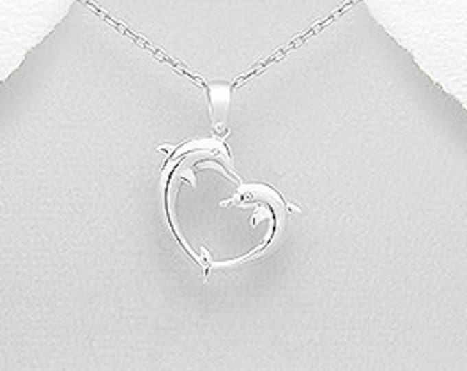 Dolphin Necklace, Animal Jewelry, Beach Jewelry, Heart Pendant, Ocean Jewelry, Marine Life Gift, Friendship Gift, Nature Jewelry, Nautical