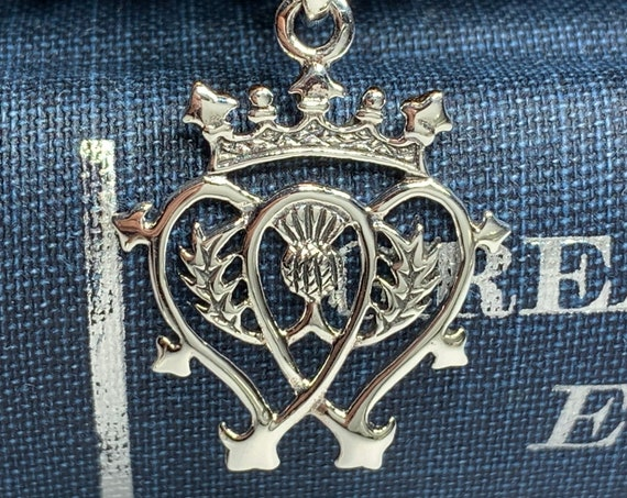 Luckenbooth Necklace, Scotland Jewelry, Thistle Jewelry, Bridal Jewelry, Mom Gift, Girlfriend Gift, Celtic Jewelry, Heart Jewelry, Wife Gift