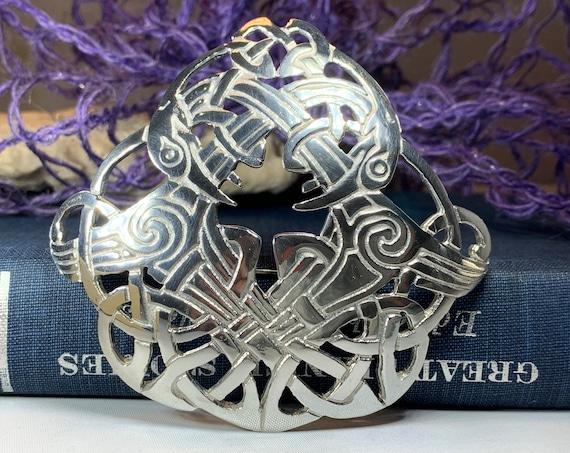 Celtic Brooch, Celtic Jewelry, Irish Jewelry, Scotland Brooch, Zoomorphic Brooch, Anniversary Gift, Celtic Knot Pin, Ireland Gift, Norse Pin