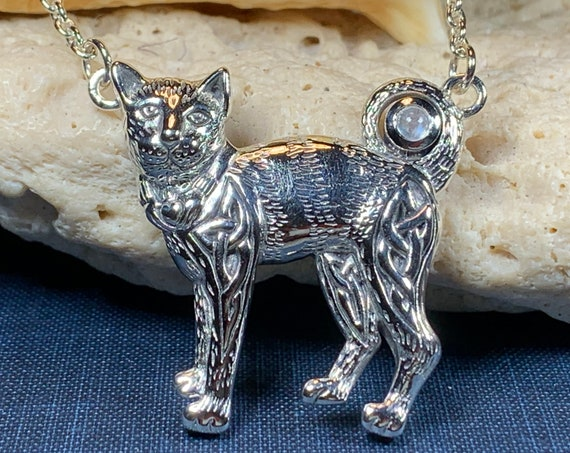 Cat Necklace, Celtic Jewelry, Irish Jewelry, Cat Lover Gift, Cat Mom Gift, Anniversary Gift, Animal Necklace, Nature Necklace