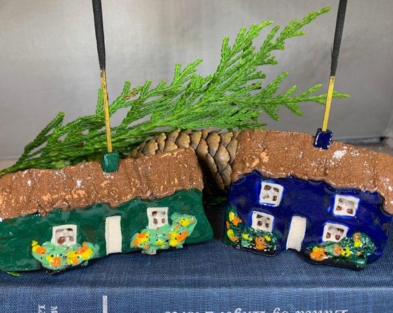 Irish Cottage Figurine, Irish Gift, Ireland Gift, Incense Burner, Wife Gift, Mom Gift, Dad Gift, Incense Holder, New Home Gift, Pottery Gift