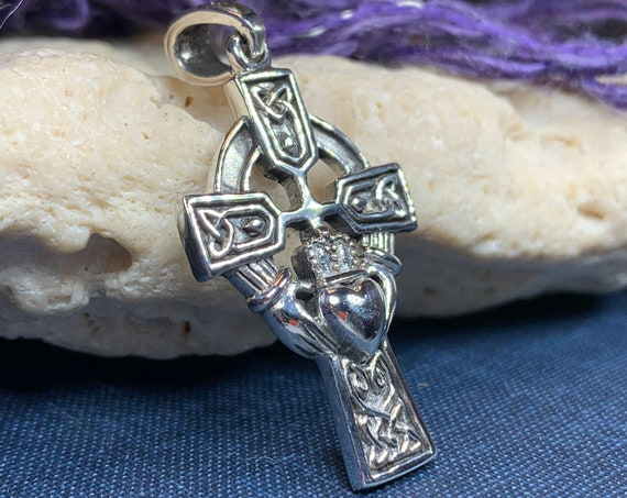 Claddagh Cross Necklace, Irish Cross, Celtic Cross Jewelry, First Communion Gift, Mom Gift, Celtic Cross Necklace, Religious Jewelry