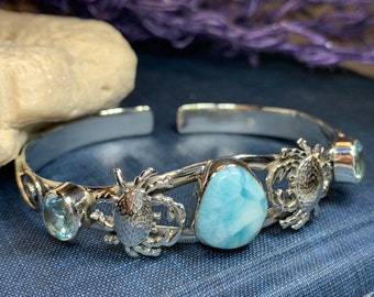 Celtic Crab Bracelet, Celtic Jewelry, Nautical Jewelry, Crab Bangle, Ocean Jewelry, Larimar Jewelry, Anniversary Gift, Wife Gift, Mom Gift