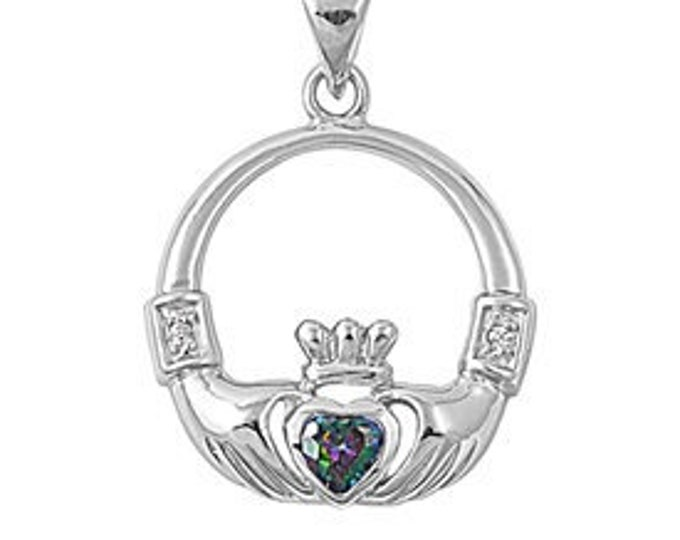 Claddagh Necklace, Celtic Jewelry, Anniversary Gift, Bridal Jewelry, Mystic Topaz, Irish Jewelry, Heart Pendant, Amethyst Necklace