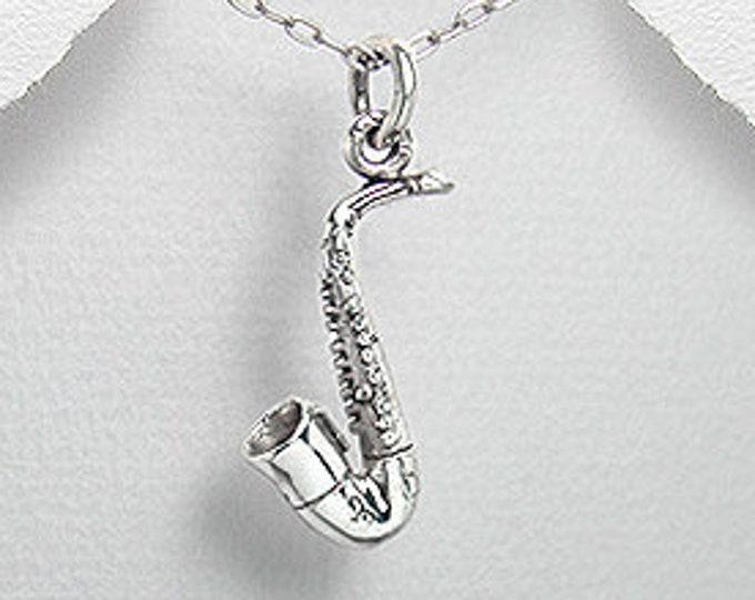 Saxophone Necklace, Music Jewelry, Instrument Jewelry, Sax Pendant, Band Jewelry, Jazz Jewelry, Musician Jewelry, Trumpet, Jazz Lover
