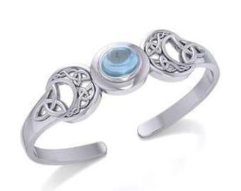 Goddess Moon Bracelet, Celtic Jewelry, Moonstone Jewelry, Danu Bracelet, Anniversary Gift, Irish Jewelry, Girlfriend Gift, Triple Moon Gift