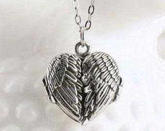 Angel Wings Necklace, Celtic Jewelry, Locket Pendant, Spiritual Jewelry, Angel Necklace, Wings Necklace, Bridal Jewelry, Memorial Jewelry
