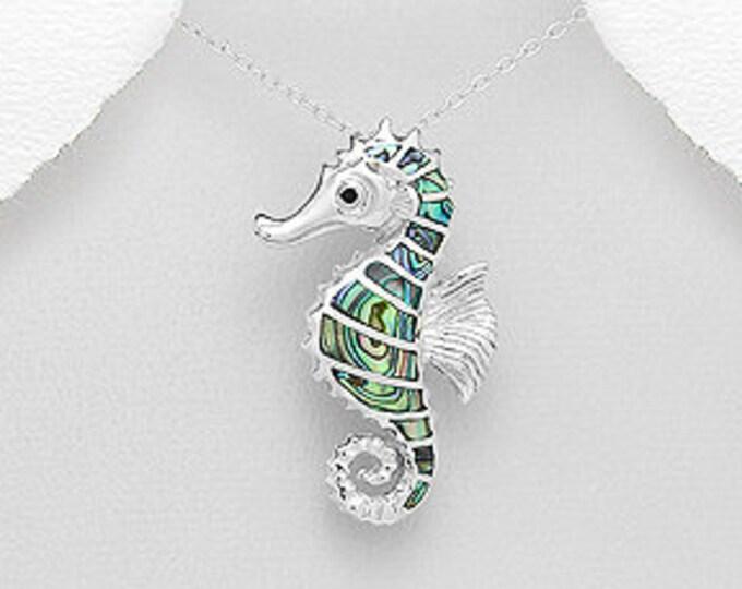 Seahorse Necklace, Celtic Jewelry, Animal Jewelry, Abalone Jewelry, Retirement Gift, Sea Jewelry, Nautical Jewelry, Beach Jewelry