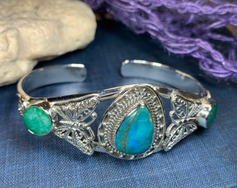 Celtic Butterfly Bracelet, Celtic Jewelry, Butterfly Bangle, Insect Jewelry, Opaline Gift, Wiccan Jewelry, Pagan Jewelry, Anniversary Gift