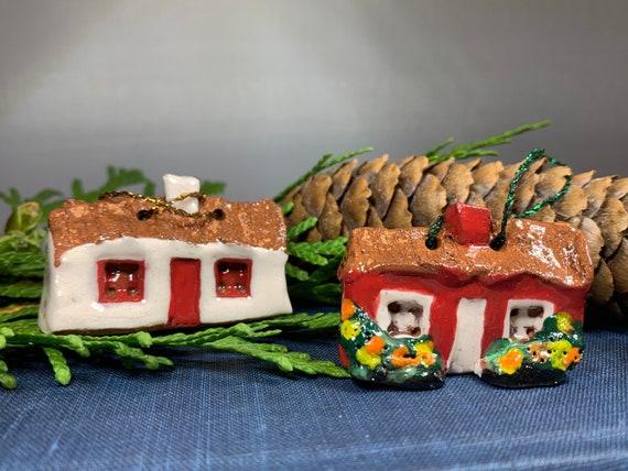 Irish Cottage Figurine, Irish Gift, Ireland Gift, Christmas Tree Ornament, Wife Gift, Mom Gift, Dad Gift, New Home Gift, Pottery Gift