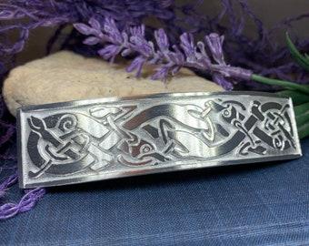 Celtic Knot Hair Clip, Celtic Barrette, Irish Jewelry, Victorian Clip, Friendship Gift, Celtic Hair Slide, Norse Jewelry, Animal Barrette