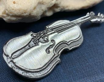 Irish Fiddle Celtic Brooch, Celtic Music, Violin Jewelry, Musician Gift, Silver Violin, Orchestra, Music Teacher Gift, Orchestra Jewelry