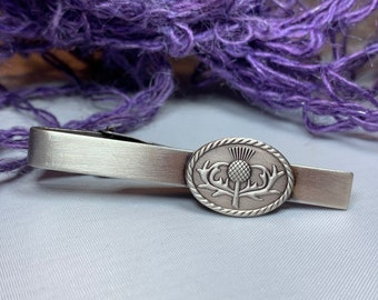 Thistle Tie Bar, Celtic Jewelry, Gift for Him, Dad Gift, Graduation Gift, Scotland Gift, Men's Jewelry, Celtic Tie Clip, Groom Gift
