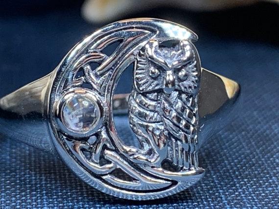 Celtic Owl Moon Ring, Moonstone Jewelry, Owl Jewelry, Crescent Moon Jewelry, Celtic Jewelry, Anniversary Gift, Wiccan Jewelry, Irish Jewelry