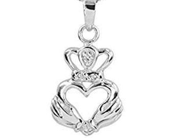 """Sterling Silver """"My Heart"""" Claddagh Celtic Necklace, Heart, Crown, Ireland Necklace, Gift for Her, Girlfriend, Best Friend, Mother, Wife"""