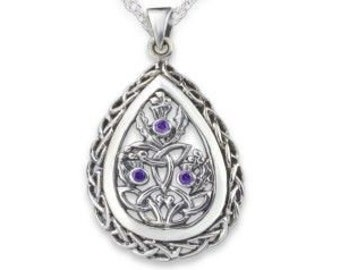 Thistle Necklace, Celtic Jewelry, Scotland Jewelry, Amethyst Necklace, Outlander Jewelry, Nature Necklace, Trinity Knot Pendant, Wife Gift