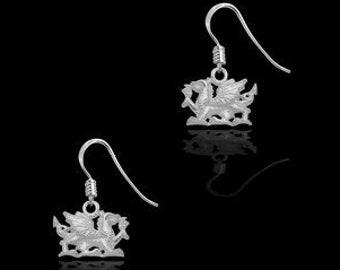 Welsh Dragon Earrings, Celtic Jewelry, Wales Jewelry, Dragon Jewelry, Mom Gift, Wife Gift, Anniversary Gift, Dragon Earrings