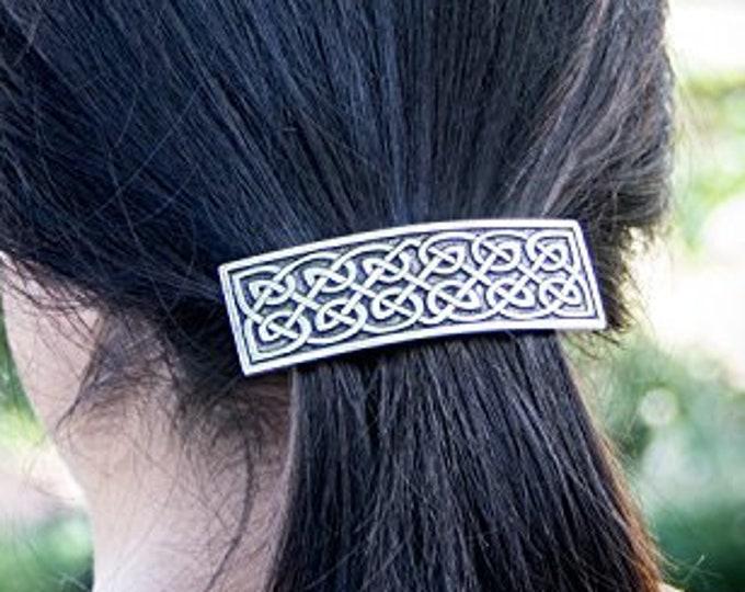 Celtic Knot Hair Clip, Celtic Barrette, Irish Jewelry, Pagan Jewelry, Friendship Gift, Wiccan Jewelry, Norse Jewelry, Animal Barrette