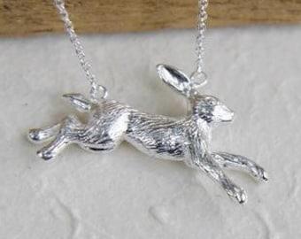 Rabbit Necklace, Animal Jewelry, Inspirational, Nature Necklace, Retirement, Anniversary, Graduation, Hare, Runner