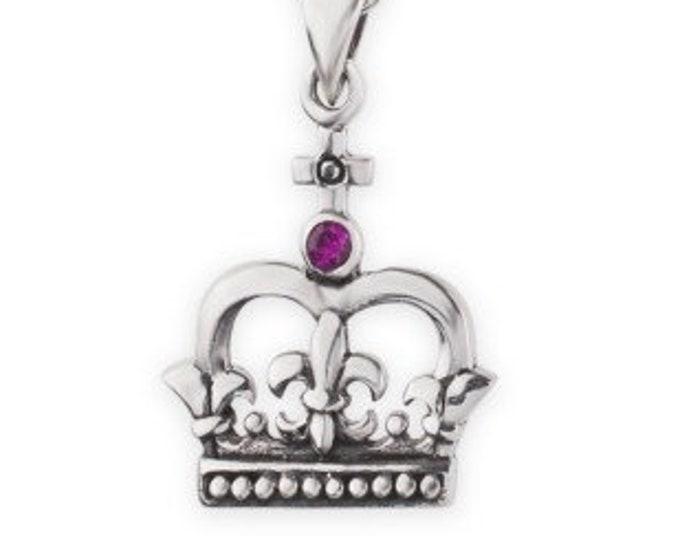 Scotland Crown Necklace, Garnet Jewelry, Celtic Jewelry, Royal Crown, Scotland Jewelry, Queen of Hearts, Girlfriend Gift, Mom Gift