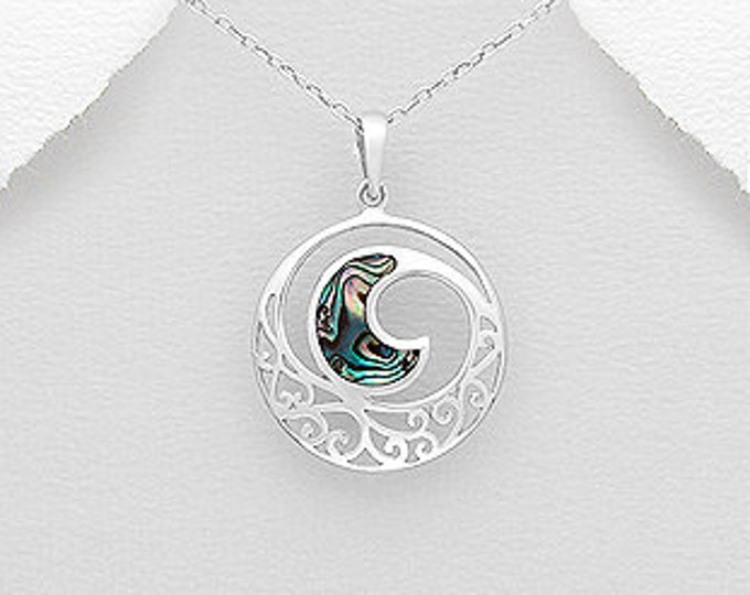 Ocean Wave Necklace, Beach Jewelry, Abalone Jewelry, Nautical Necklace, Summer Necklace, Gift for Her, Anniversary Gift, Bridal Jewelry