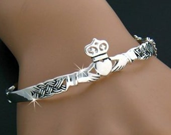Celtic Weave Irish Claddagh Pewter Bracelet