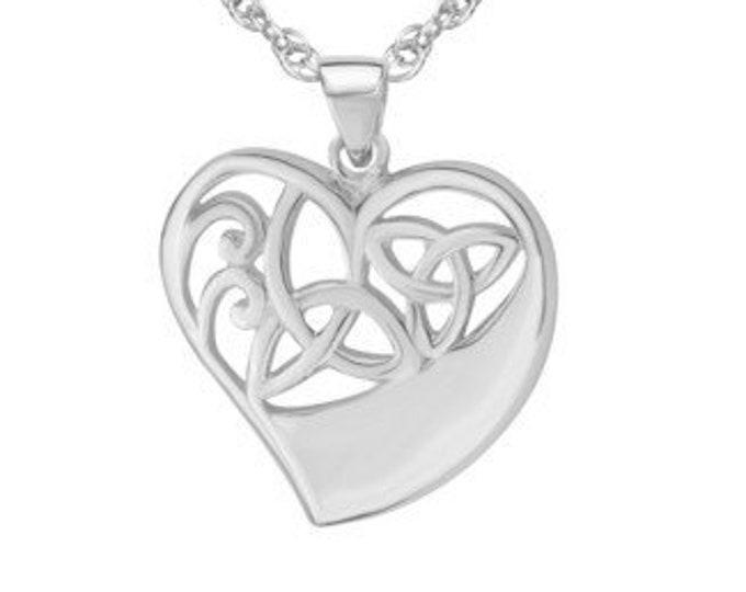 Trinity Knot Necklace, Celtic Jewelry, Ireland Jewelry, Heart Pendant, Wiccan Jewelry, Pagan Jewelry, Scotland Jewelry, Triquetra Pendant