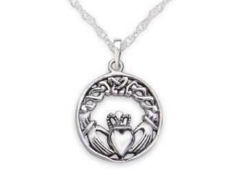 Claddagh Necklace, Ireland Jewelry, Heart Jewelry, Celtic Jewelry, Anniversary Gift, Wife Gift, Mom Gift, Best Friend Gift, Anniversary Gift