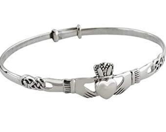 Irish Claddagh Bracelet, Celtic Jewelry, Ireland Jewelry, Bridal Jewelry, Heart Jewelry, Girlfriend Gift, Wife Gift, Anniversary Gift