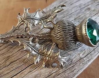 Thistle Brooch, Celtic Pin, Anniversary Gift, Scotland Brooch, Celtic Jewelry, Bride Gift, Kilt Pin, Tartan Pin, Graduation Gift, Wiccan Pin
