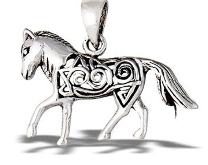 Horse Necklace, Celtic Jewelry, Equestrian Jewelry, Animal Jewelry, Nature Jewelry, Gift for Her, Ireland Jewelry, Celtic Knot Necklace