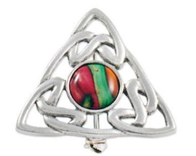 Celtic Knot Brooch, Scotland Jewelry, Norse Jewelry, Scarf Pin, Tartan Pin, Scottish Gift, Viking Pin, Graduation Gift, Heather Gem