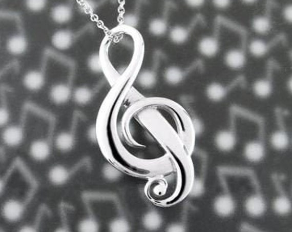 Music Necklace, Music Note Jewelry, Treble Clef Jewelry, Theater Jewelry, Orchestra Gift, Band Jewelry, Music Teacher Gift, Chorus Gift