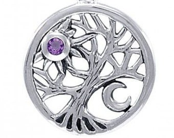 Tree of Life Necklace, Celtic Jewelry, Celestial Jewelry, Wiccan Jewelry, Pagan Jewelry, Nature Jewelry, Amethyst Necklace, Norse Jewelry
