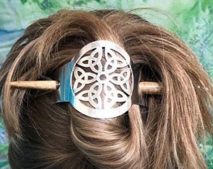 Trinity Knot Hair Slide, Celtic Hair Barrette, Triquetra Barrette, Hair Clip, Celtic Bun Holder, Sister Gift, Gift for Her, Irish Gift