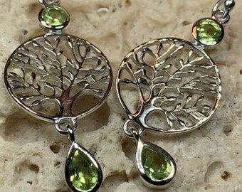 Tree of Life Earrings, Celtic Jewelry, Irish Jewelry, Peridot Jewelry, Wiccan Jewelry, Norse Jewelry, Scotland Jewelry, Gift for Her