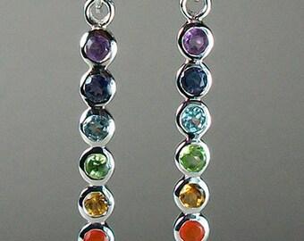 Rainbow Earrings, Gemstone Jewelry, Chakra Jewelry, Yoga Jewelry, Memorial Jewelry, Inspirational Jewelry, Rainbow Jewelry, Anniversary Gift
