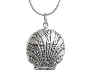 Seashell Locket Necklace, Locket Pendant, Beach Jewelry, Ocean Jewelry, Shell Necklace, Mom Gift, Anniversary Gift, Nautical Jewelry