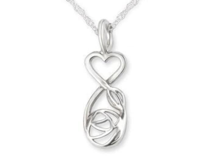 Hearts & Roses Celtic Necklace, Valentine's Day, Heart Shape, Gift for Her, Girlfriend, Mother, Sister, Wife