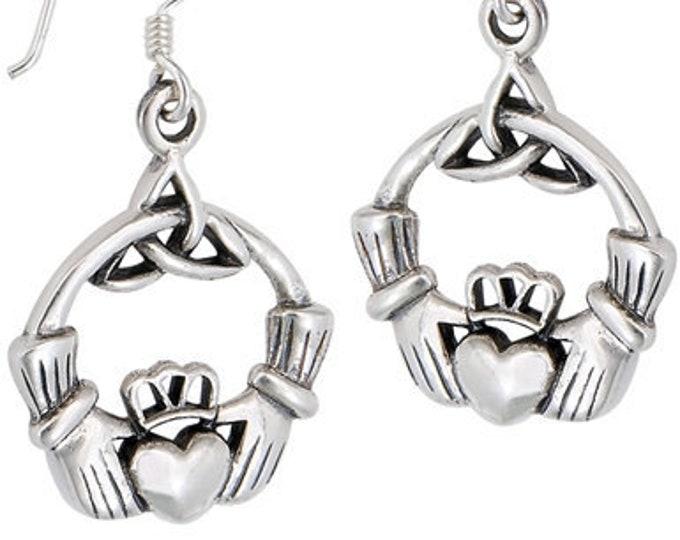 Claddagh Earrings, Celtic Jewelry, Ireland Jewelry, Trinity Knot Jewelry, Triquetra Earrings, Irish Gift, Irish Dance Gift, Anniversary Gift