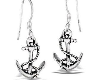 Strong Little Anchor Sterling Silver Earrings
