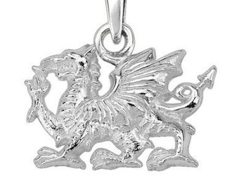 Welsh Dragon Celtic Necklace, Wales Necklace, Celtic Dragon, Gift for Her, Silver Dragon, Pagan, Wiccan, Fantasy Jewelty