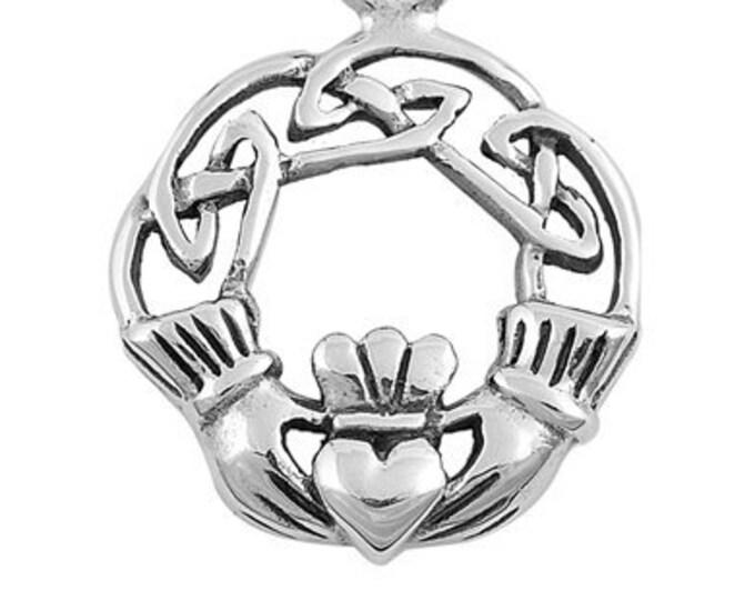 Claddagh Necklace, Celtic Jewelry, Heart Pendant, Irish Jewelry, Gift for Her, Anniversary Gift, Best Friend Gift, Girlfriend, Mother