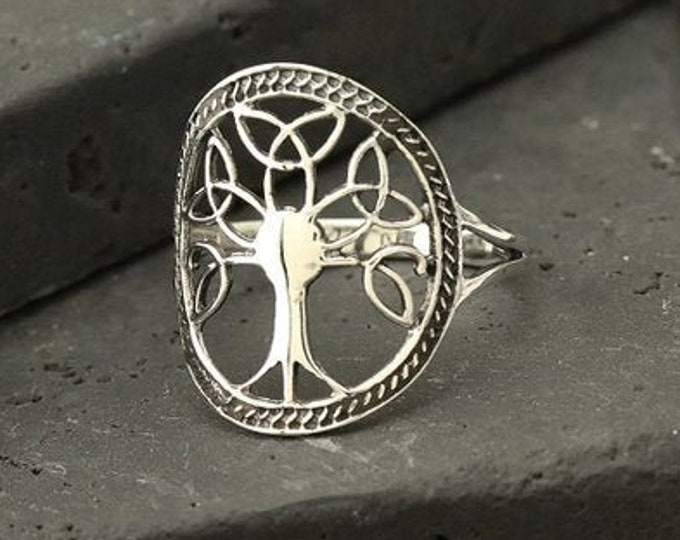 Tree of Life Ring, Celtic Jewelry, Ireland Jewelry, Norse Jewelry, Celtic Knot Ring, Anniversary Gift, Wiccan Jewelry, Trinity Knot Ring
