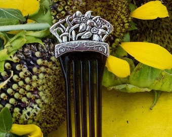 Daffodil Hair Stick, Celtic Barrette, Irish Jewelry, Pagan Jewelry, Friendship Gift, Wiccan Jewelry, Norse Jewelry, Hair Slide Barrette