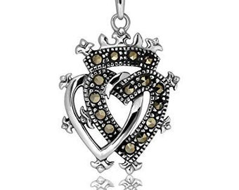 Luckenbooth Celtic Necklace, Celtic Pendant, Scotland Jewelry, New Bride Gift, Bride Gift, Wife, Girlfriend, Double Heart, Heart Pendant