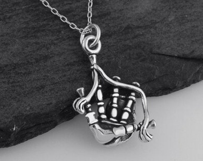 Bagpipes Necklace, Celtic Jewelry, Highland Piper, Scottish Pipes, Anniversary Gift, Outlander Inspired, Scotland Music, Music Jewelry