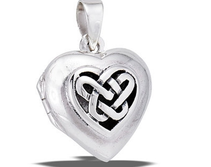 Heart Locket Necklace, Heart Pendant, Mother's Day Gift, Celtic Jewelry, Anniversary Gift, Bridal Jewelry, Bridesmaid Gift, Locket Necklace