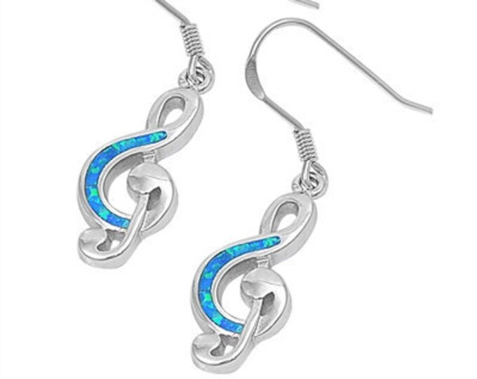 Music Lover Earrings, Music Note Jewelry, Gift for Her, G Clef Jewelry, Anniversary Gift, Music Teacher Gift, Music Jewelry, Opal Jewelry